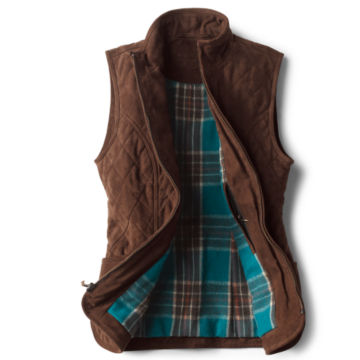 Quilted Suede Vest - COFFEE image number 1