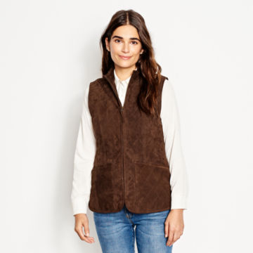 Quilted Suede Vest - COFFEE image number 2
