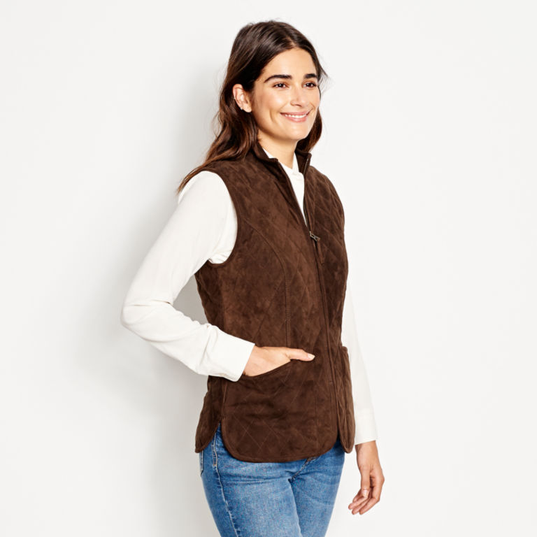 Quilted Suede Vest - COFFEE image number 3