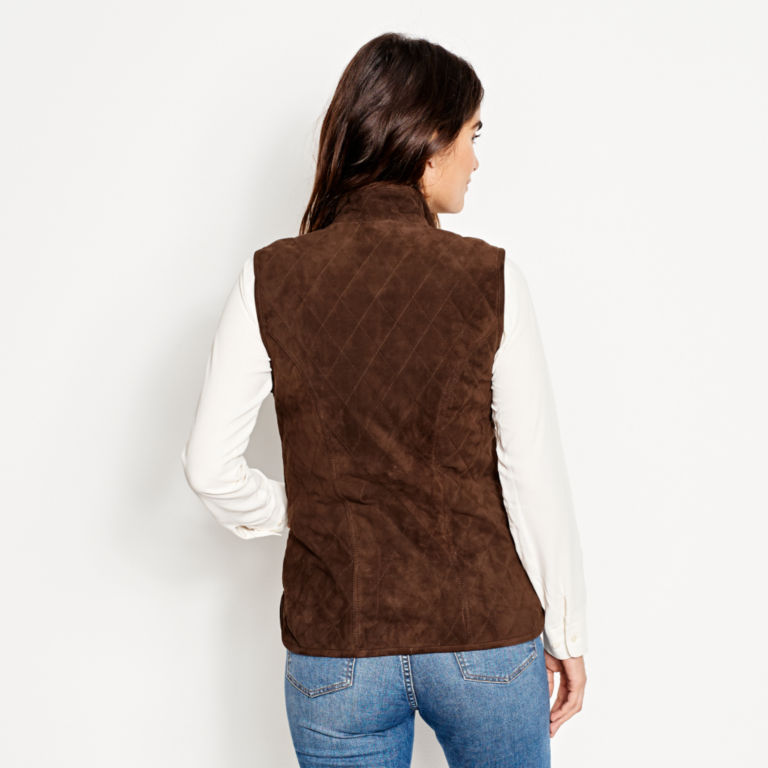 Quilted Suede Vest - COFFEE image number 4