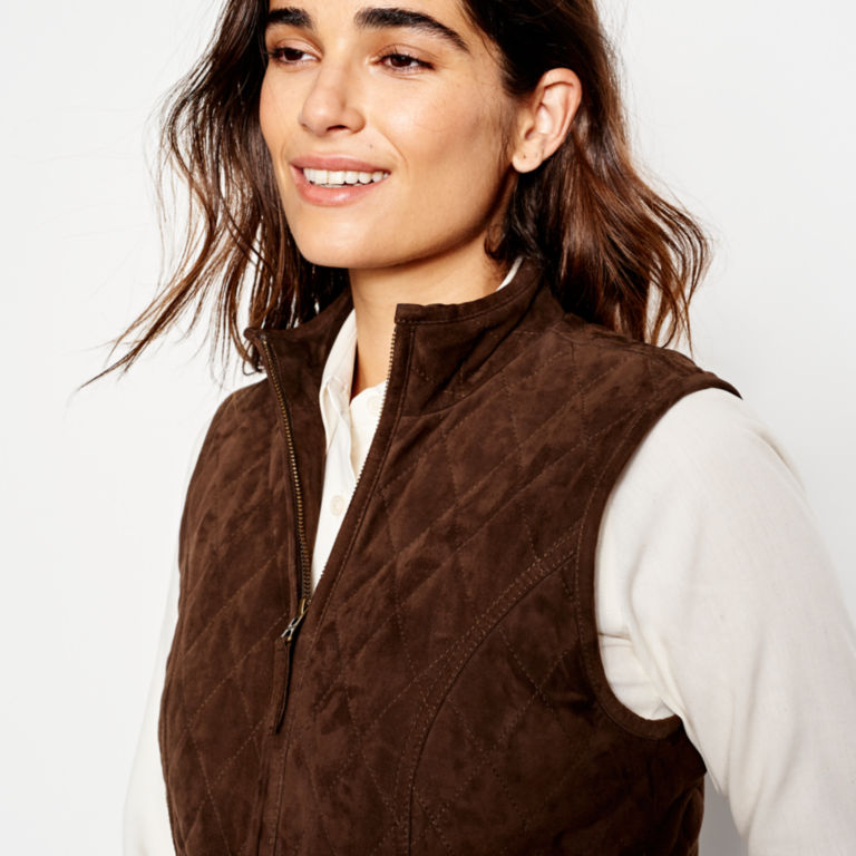 Quilted Suede Vest - COFFEE image number 5