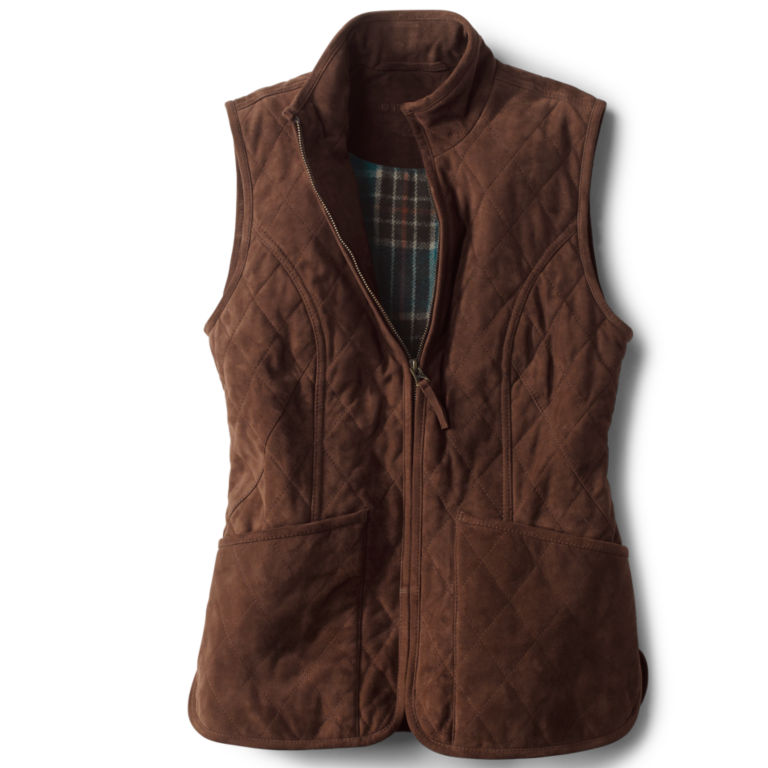 Quilted Suede Vest - COFFEE image number 0
