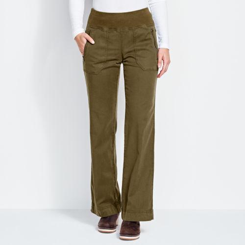 model, waist down, wearing dark colored pants