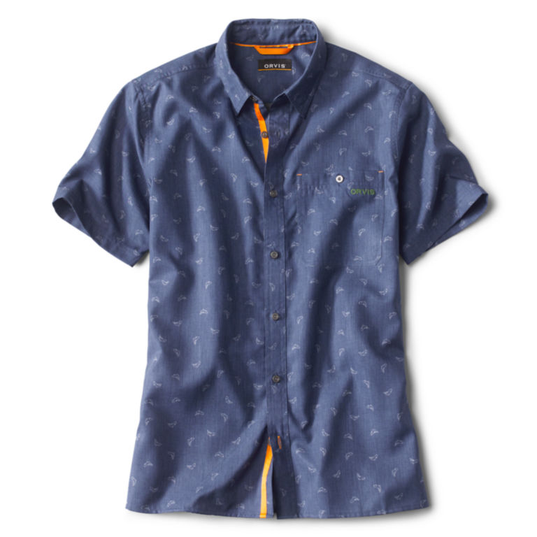 Printed Tech Chambray Short-Sleeved Shirt -  image number 0