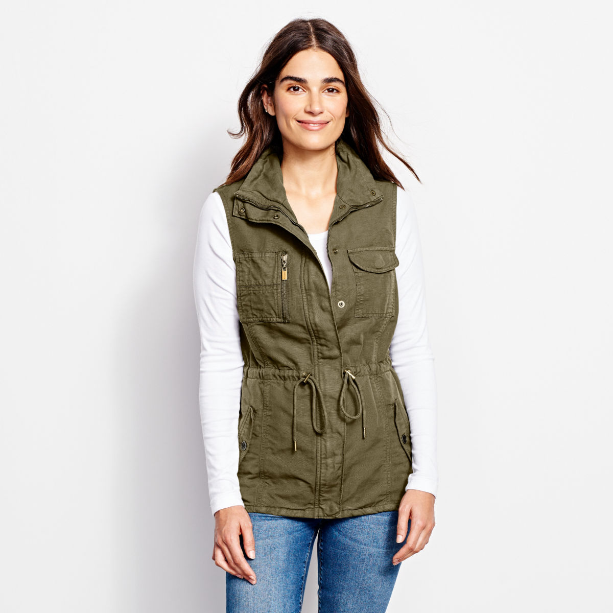 Linen/Cotton Utility Vest - TARRAGONimage number 0