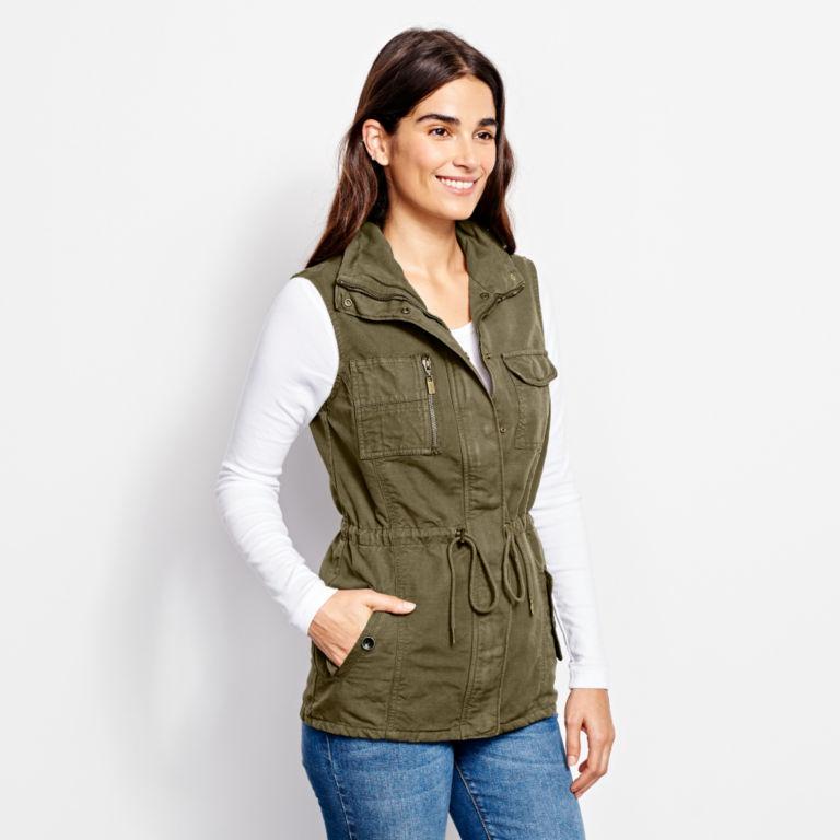 Linen/Cotton Utility Vest - TARRAGON image number 1