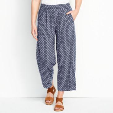 Rayon Wide-Leg Cropped Pants -