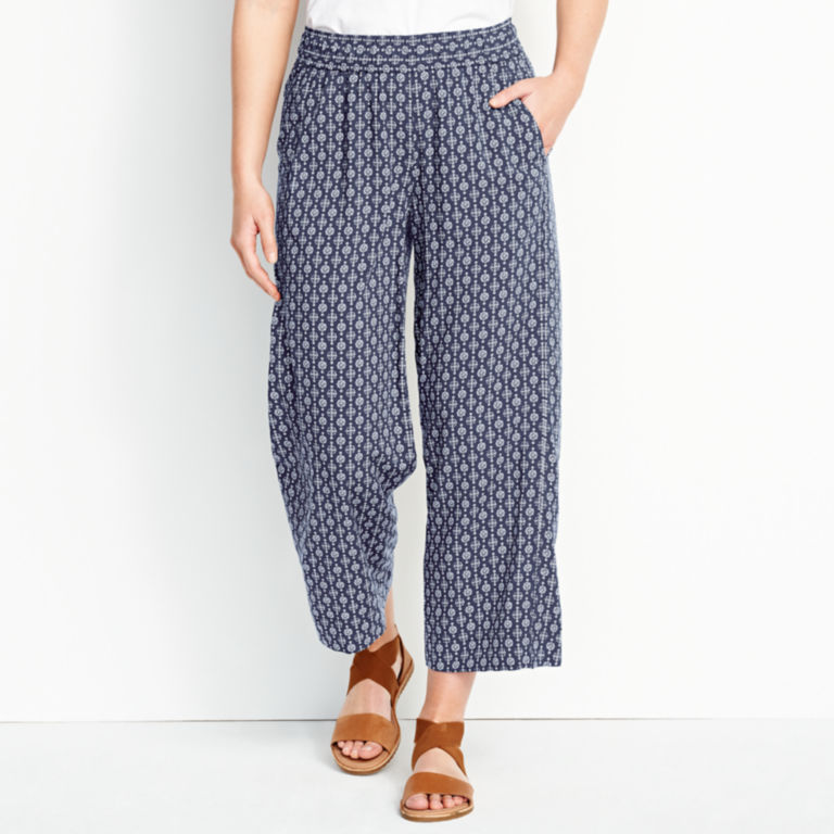 Rayon Wide-Leg Cropped Pants -  image number 0