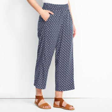 Rayon Wide-Leg Cropped Pants -  image number 1