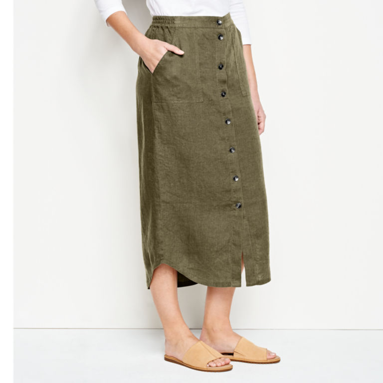 Orvis Performance Linen Button-Front Skirt -  image number 1