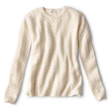 Cashmere Cable Crewneck Sweater - SNOW image number 0