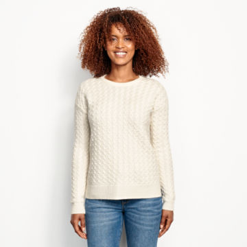 Cashmere Cable Crewneck Sweater - SNOW image number 1