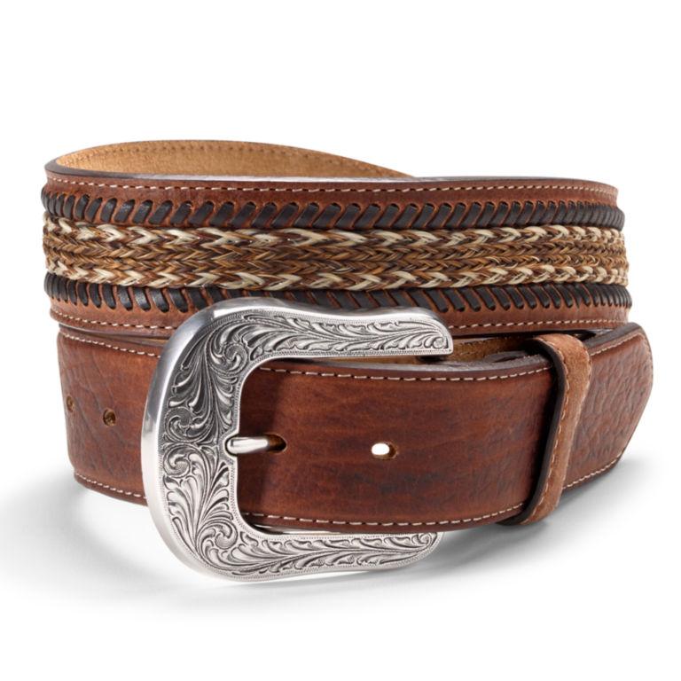 Horsehair Inlay Belt - BROWN image number 0