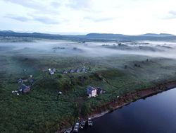 aerial view of waterside buildings