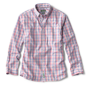 Heritage Poplin Long-Sleeved Shirt - CORAL/RED CHECK