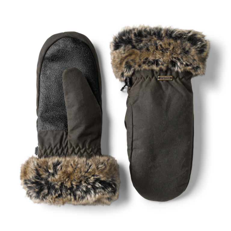 Barbour® Waxed Mittens With Fur Trim - OLIVE image number 0