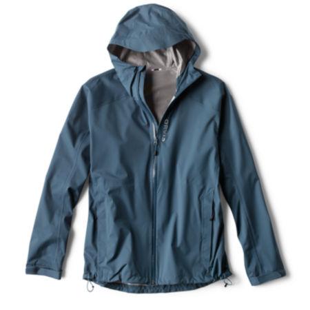 blue raincoat on white background