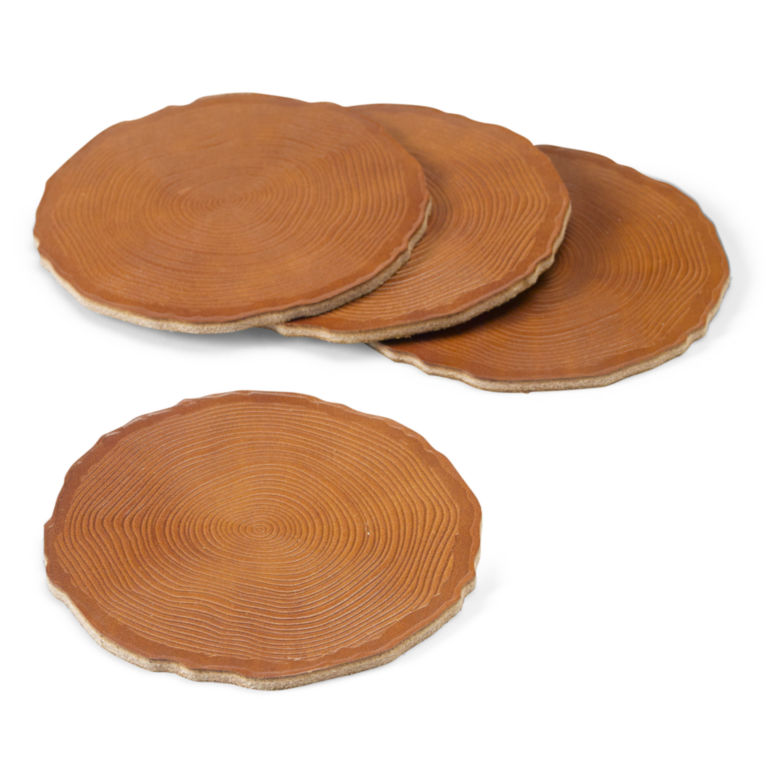 Leather Tree Ring Coasters, Set of 4 -  image number 0