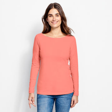 Classic Cotton Solid Boatneck Tee -  image number 0