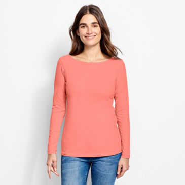 Classic Cotton Solid Boatneck Tee -