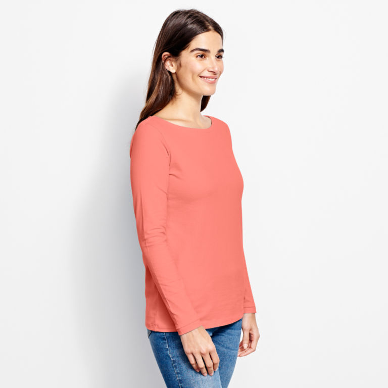 Classic Cotton Solid Boatneck Tee -  image number 1