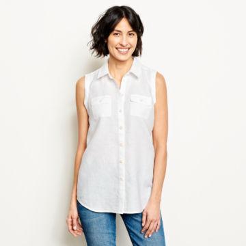Lightweight Linen Sleeveless Shirt - WHITE image number 1