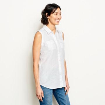Lightweight Linen Sleeveless Shirt - WHITE image number 2