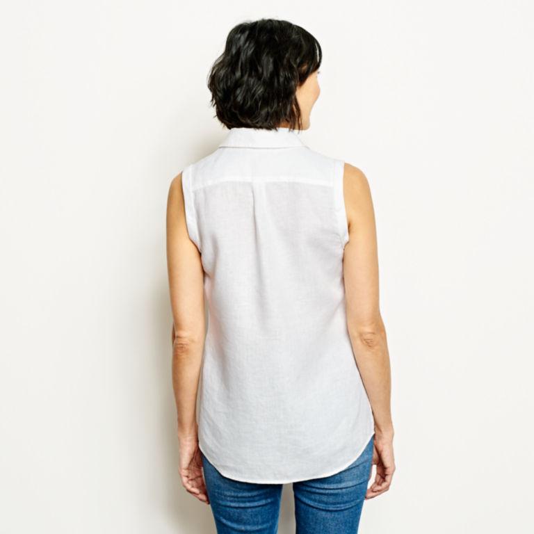 Lightweight Linen Sleeveless Shirt - WHITE image number 3