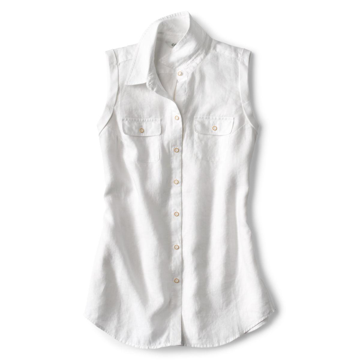 Lightweight Linen Sleeveless Shirt - WHITEimage number 0