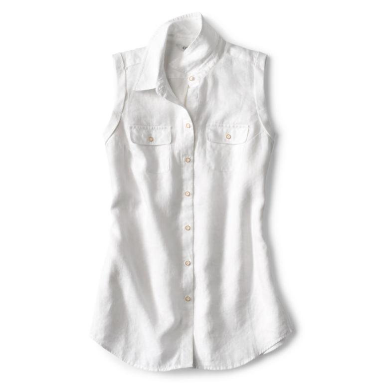 Lightweight Linen Sleeveless Shirt - WHITE image number 0