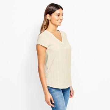 Garment-Dyed Dobby Cap-Sleeved Shirt -  image number 1