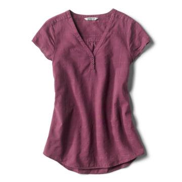 Garment-Dyed Dobby Cap-Sleeved Shirt -  image number 4