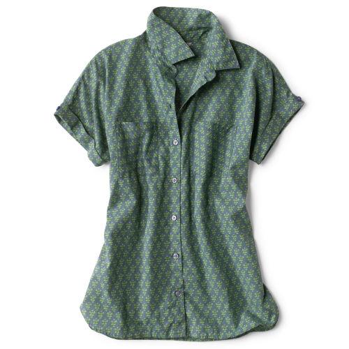 green short-sleeved shirt on white background