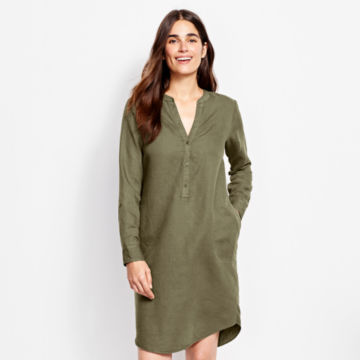 Linen/Cotton Garment-Dyed Dress - OLIVE image number 1