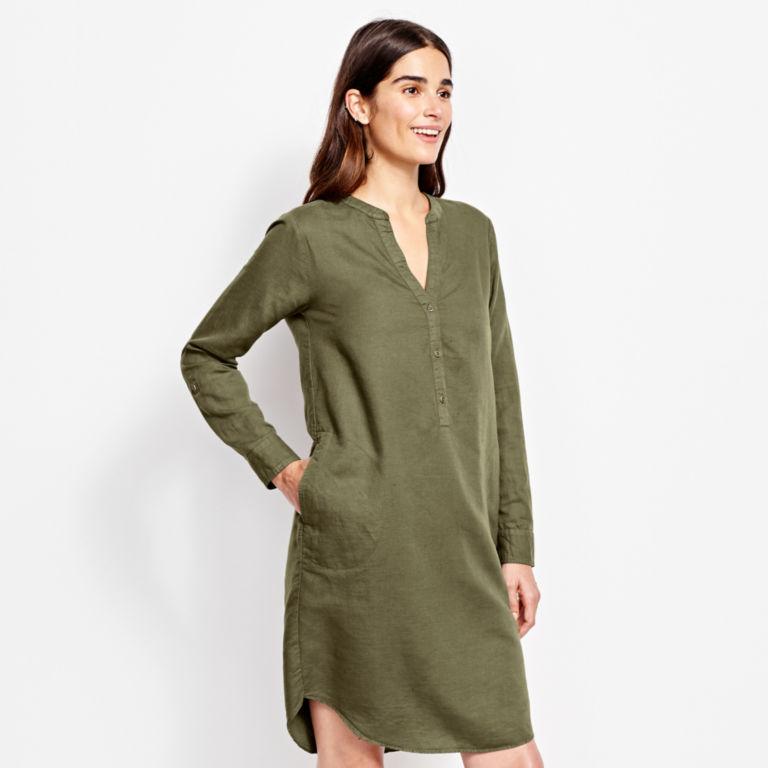 Linen/Cotton Garment-Dyed Dress - OLIVE image number 2