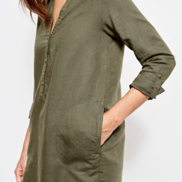 Linen/Cotton Garment-Dyed Dress - OLIVE image number 4
