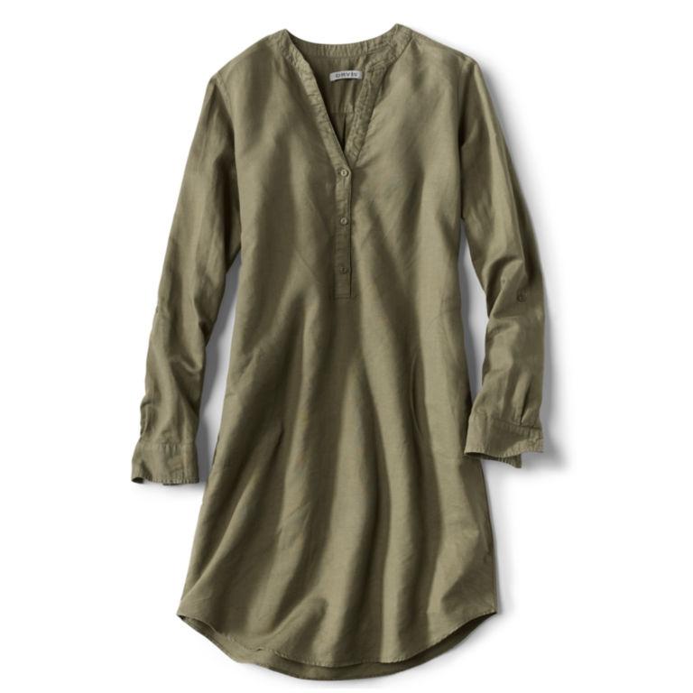 Linen/Cotton Garment-Dyed Dress - OLIVE image number 0