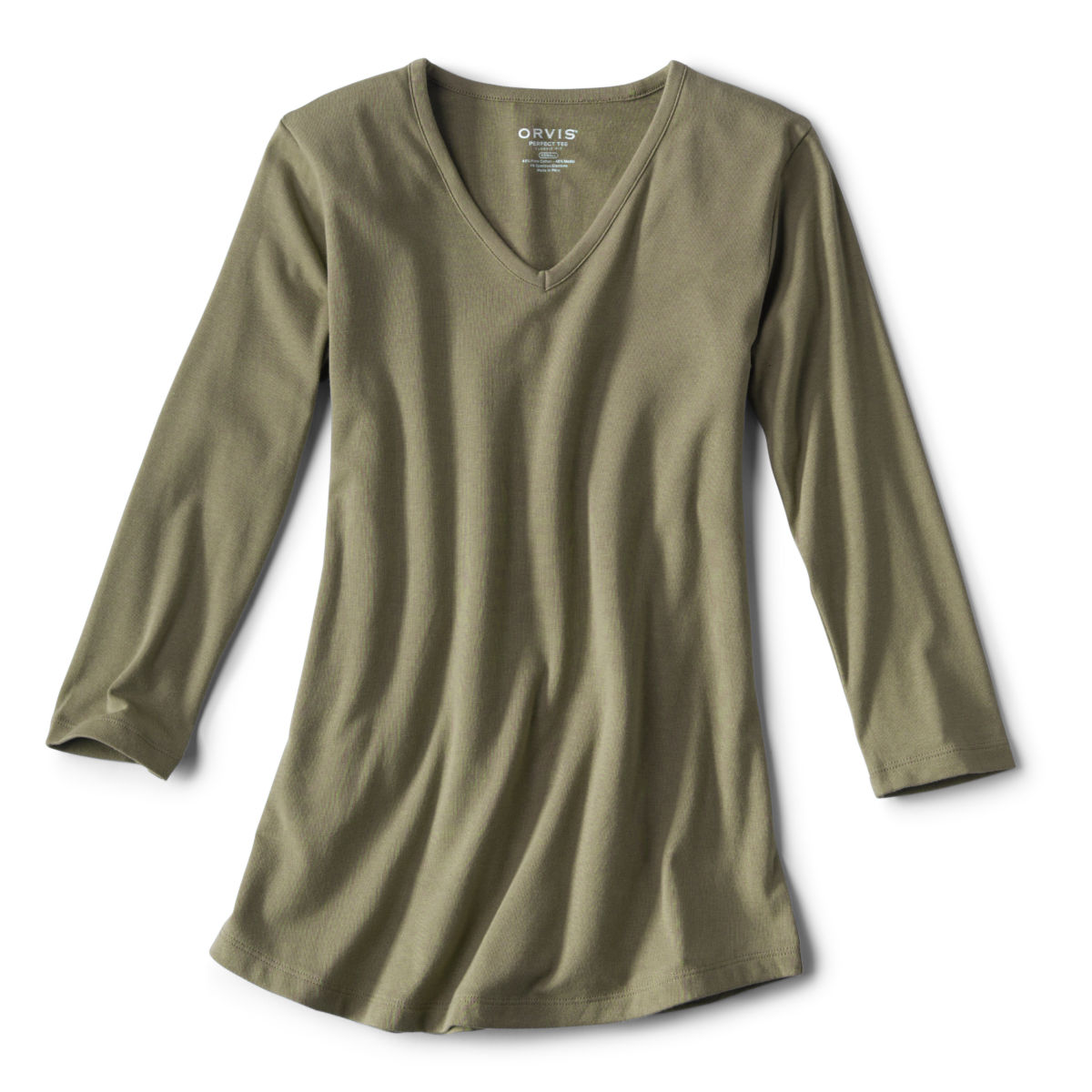 Relaxed V-Neck Three-Quarter-Sleeved Perfect Tee - image number 0