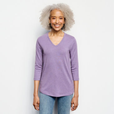 Relaxed V-Neck Three-Quarter-Sleeved Perfect Tee -