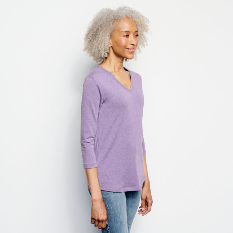 Relaxed V-Neck Three-Quarter-Sleeved Perfect Tee -  image number 1