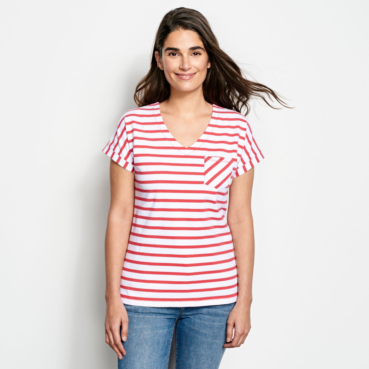 Classic Cotton Mixed Stripe Dolman Tee - image number 0