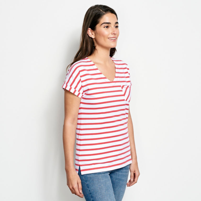 Classic Cotton Mixed Stripe Dolman Tee -  image number 1
