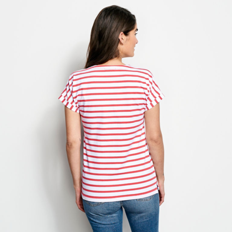 Classic Cotton Mixed Stripe Dolman Tee -  image number 2