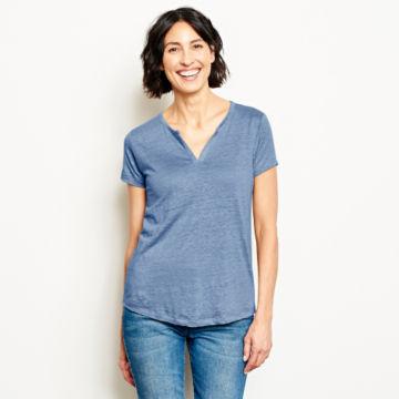 Lakeside Linen Split Neck Tee -  image number 0