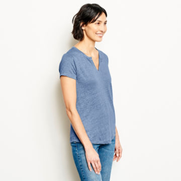 Lakeside Linen Split Neck Tee -  image number 1
