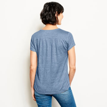 Lakeside Linen Split Neck Tee -  image number 2