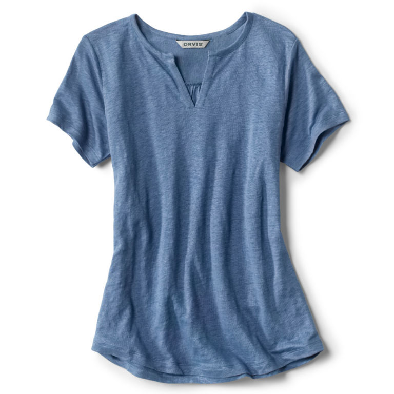 Lakeside Linen Split Neck Tee -  image number 4