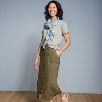 Orvis Performance Linen Button-Front Skirt -  image number 5