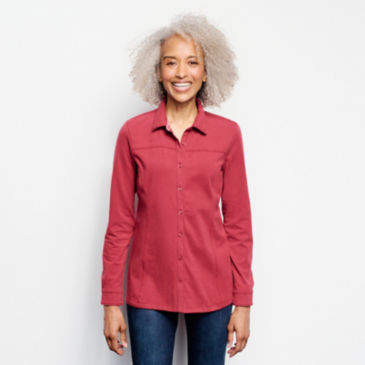 Classic Cotton Knit Button-Up Tee -