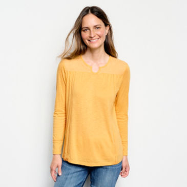 Garment-Dyed Mixed-Media Long-Sleeved Tee -
